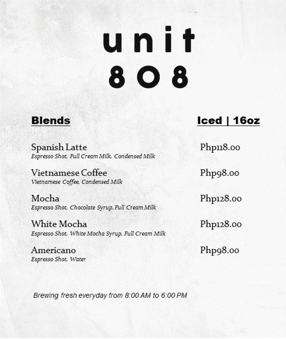 Unit 808 Menu