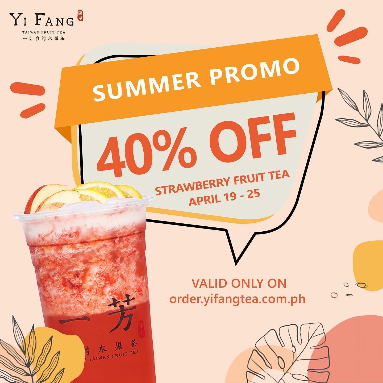 Yi Fang Promo 40% off on Strawberry Fruit Tea