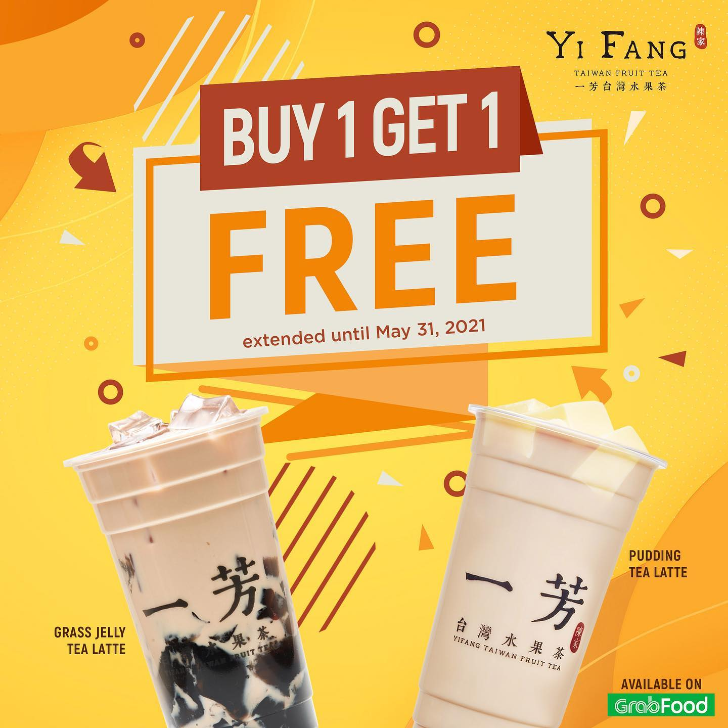 Yi Fang Promo Buy 1 Take 1 on Grass Jelly Tea Latte and Pudding Tea Latte