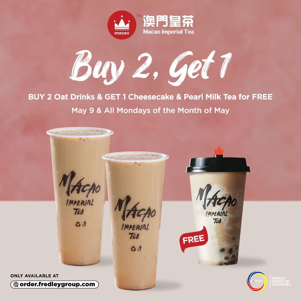 Buy 2 Oat Drinks and Get 1 Cheesecake & Pearl Milk Tea for Free at Macao Imperial Tea