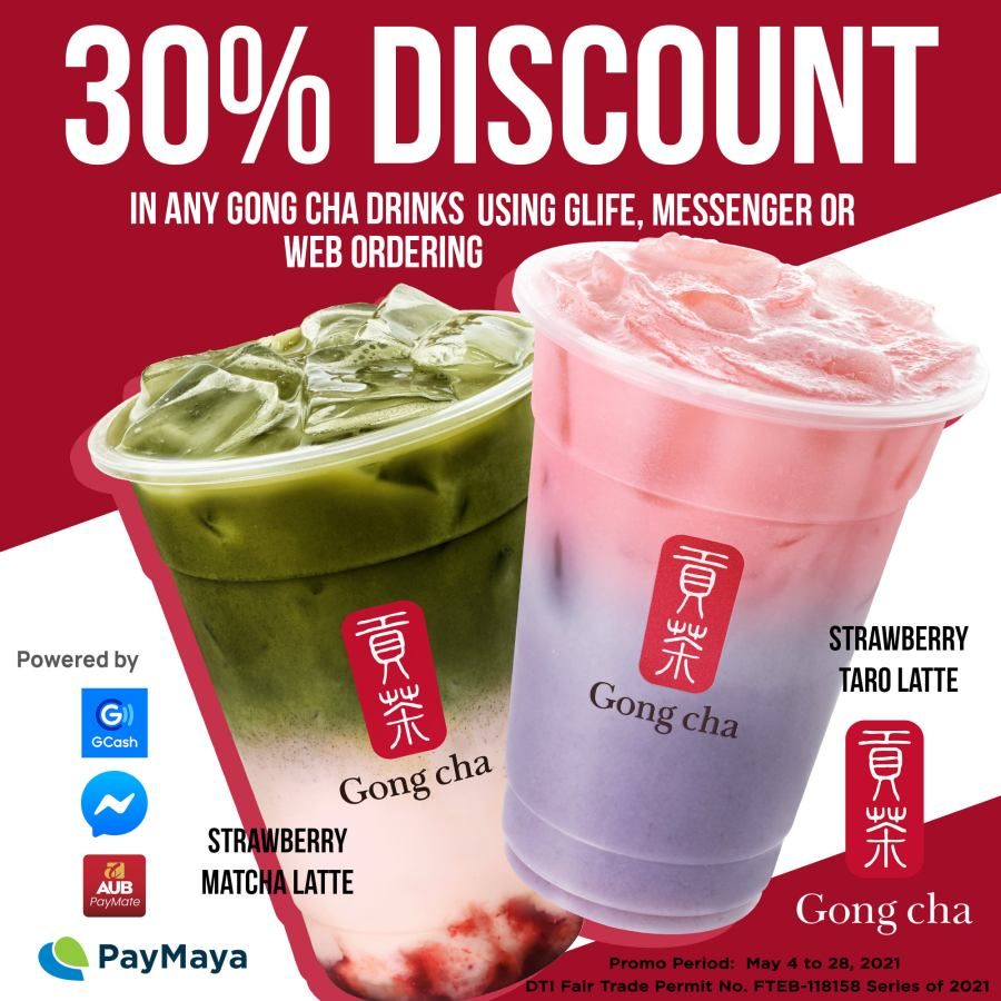 Gong Cha Promo 30% Discount via GLife Messenger and Web Order