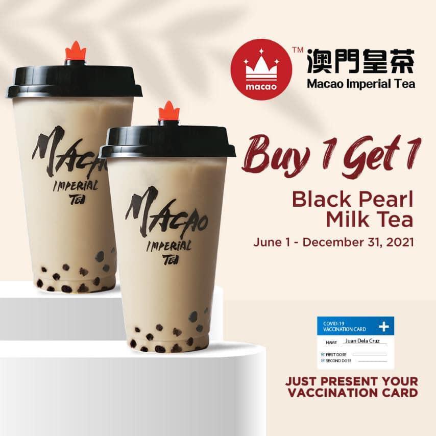 Macao Vaccination Promo Buy 1 Get 1 Black Pearl Milk Tea