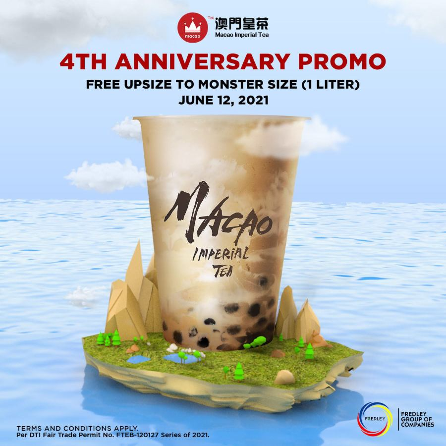 Macao Imperial Tea Free Upsize to 1 Liter on their 4th Anniversary Promo 2021