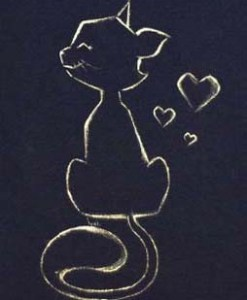 Tricou pictat manual cu pisica si inimioare