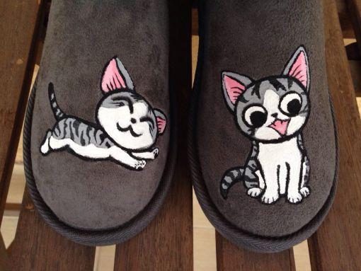 cizme calduroase pictate cu pisica Chi