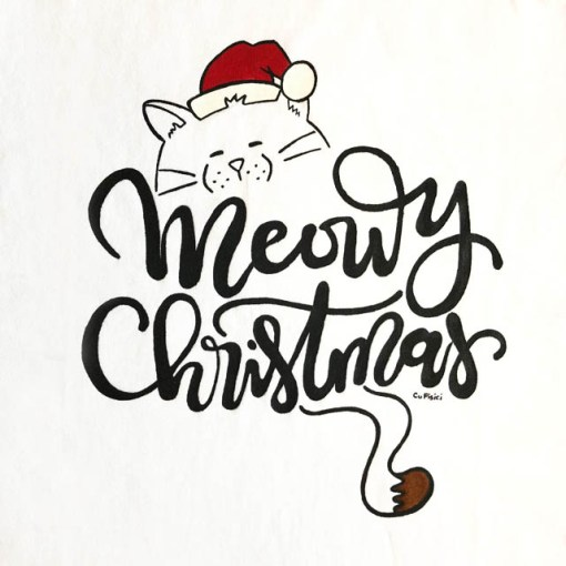 Tricou pictat manual cu pisica Meowy Christmas