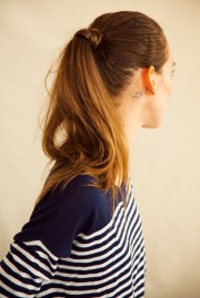sleek parted ponytail cup of