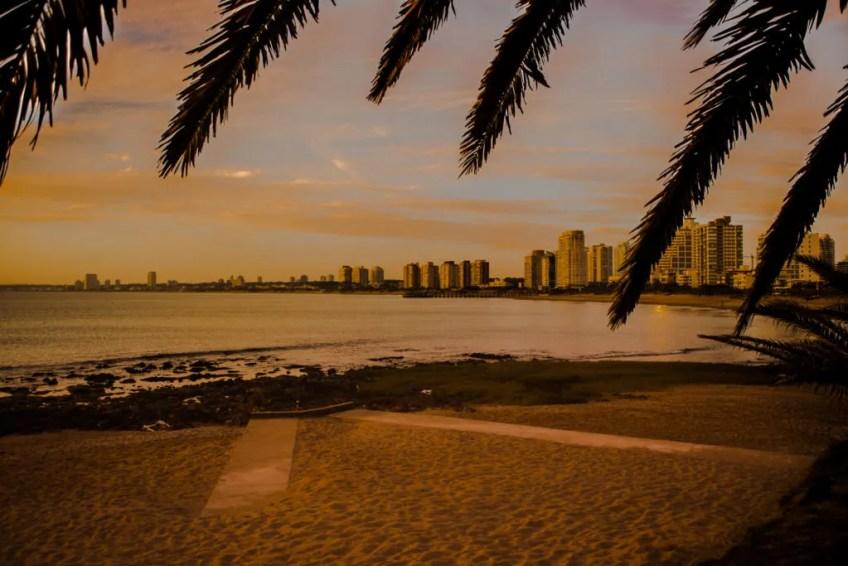 PUnta del Este Uruguay beach city at sunset
