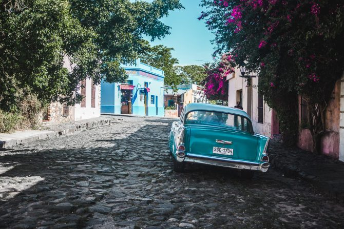 Colonia Sacramento Uruguay classic car on cobbled street of old town