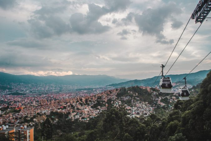 Teleferico electric cable car Line J to La Aurora station in Medellín, Colombia | Environmentally friendly initiatives in South America | Sustainability