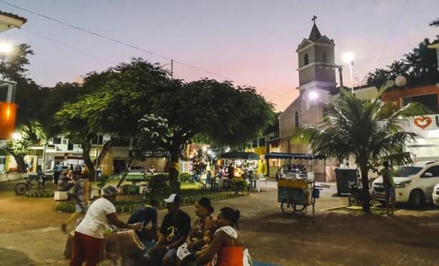 Maragogi town at night plaza praca square