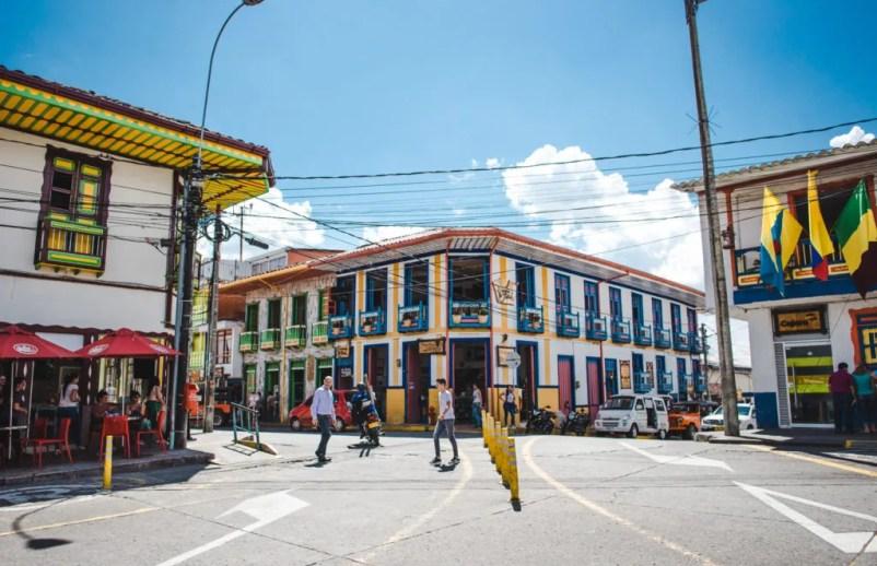 Filandia Colombia plaza life pavement culture colourful houses Quindio