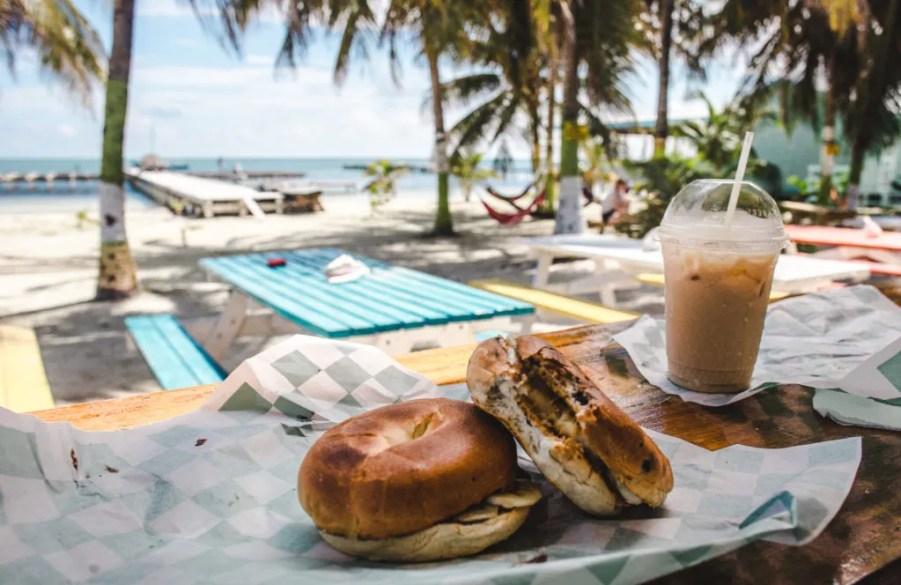 Ice n Beans coffee shop Caye Caulker Belize island bagels