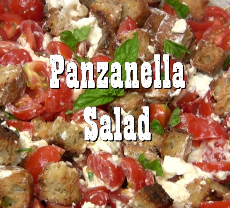 Panzanella salad signals summer tomatoes for the classic bread and tomato salad with fresh basil, Burrata chesse and crusty bread. Hearty and savory yet light.
