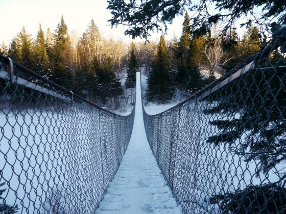 Pinawa suspended bridge winter