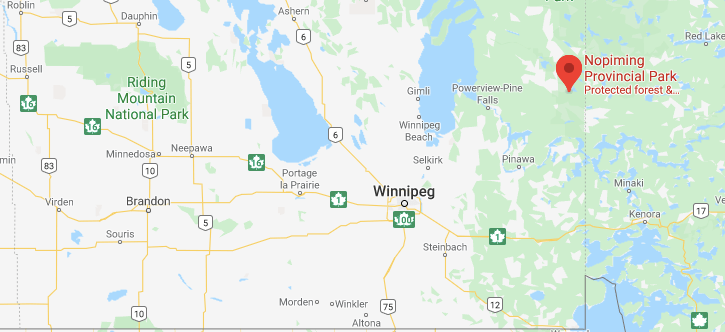 Nopiming on Manitoba Map