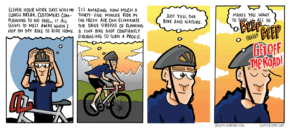 Lester, dude, open your eyes while you're cycling through traffic.