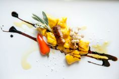 Ricotta Gnocchi . Kabocha Purée . Smoked Enoki Mushrooms . Pork Belly (image)