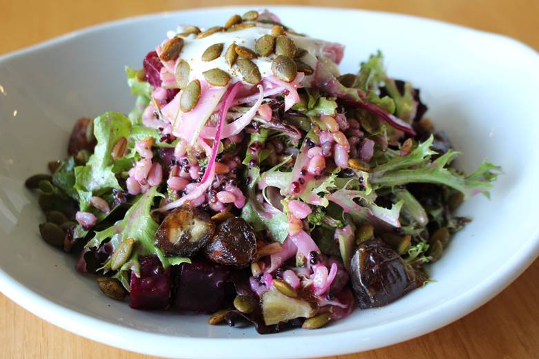 Winter Salad by Trust | raw broccoli, grains, red onions, spicy pepitas, yogurt, dates, fennel, beet vinaigrette $10