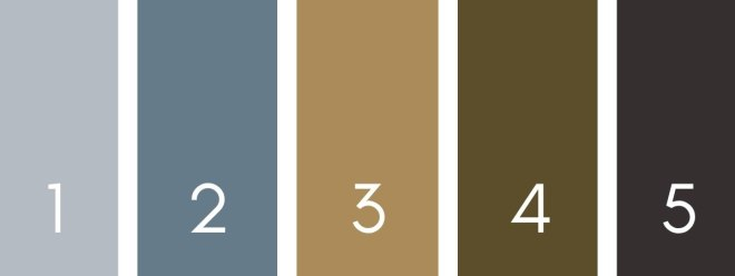Color palette for Irish woodlands for interior design projects or home decor