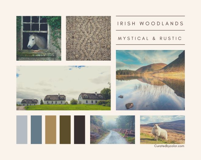Irish Woodlands moodboard for home interior design inspiration with color palette
