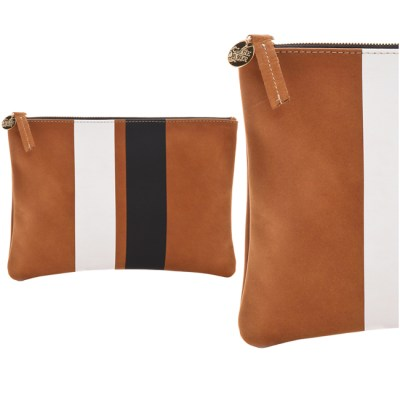Clare Vivier Leather Minimalist Clutch Brown Stripe