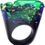 Unique Green & Blue Murano Glass Ring Italy $450
