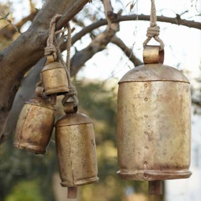 Gorgeous Rustic Gold Temple Bells Spiritual