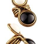 Oscar De La Renta Classy Gold Cocktail Ring Black/White $195