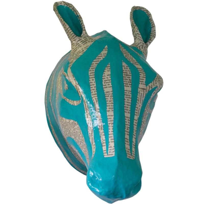 Zebra Paper Mache Head