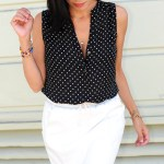 Connecting The Dots In A White Faux Leather Skirt