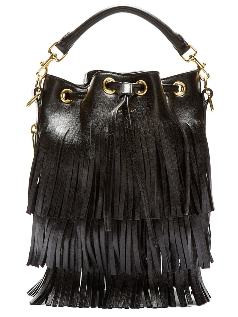 Saint Laurent - Black Leather Fringe Bag