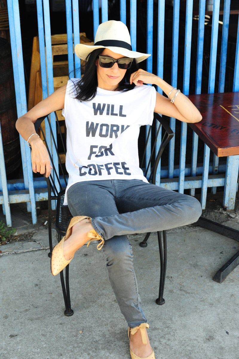 coffee shop etiquette - will work for coffee - the laundry room tee