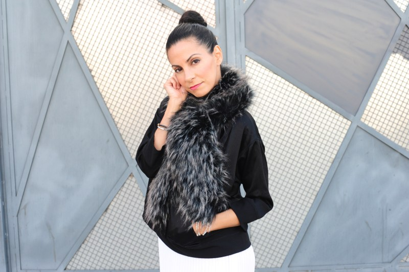 Styling Winter Fashion Black & White - DVF Top - Theory Pleated Skirt - Faux Fur Stole