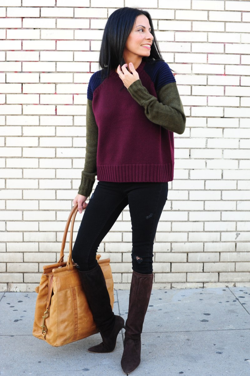 Winter Weekend Away Outfits  - J Crew Cashmere Sweater - Rebecca Minkoff Bag