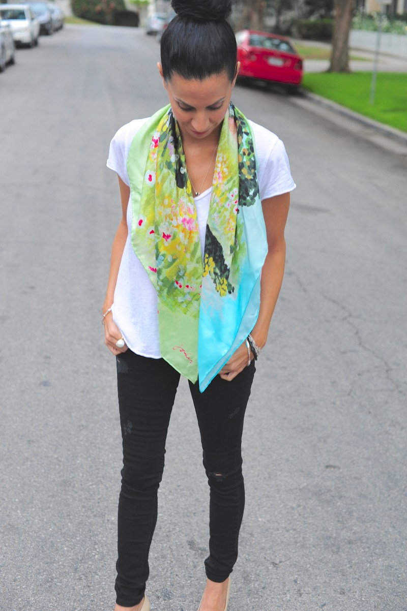 Third Day Of Cool - joules Clarence Silk Scarf - American Vintage tee