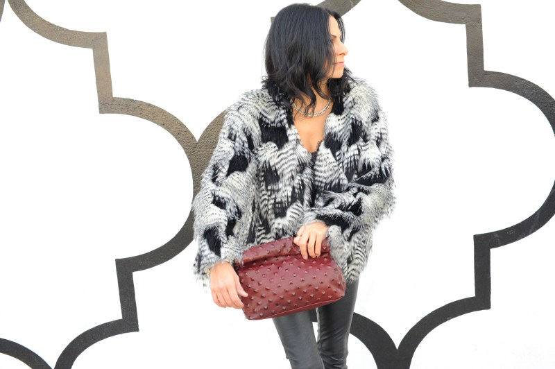 Black And White Faux Fur Coat