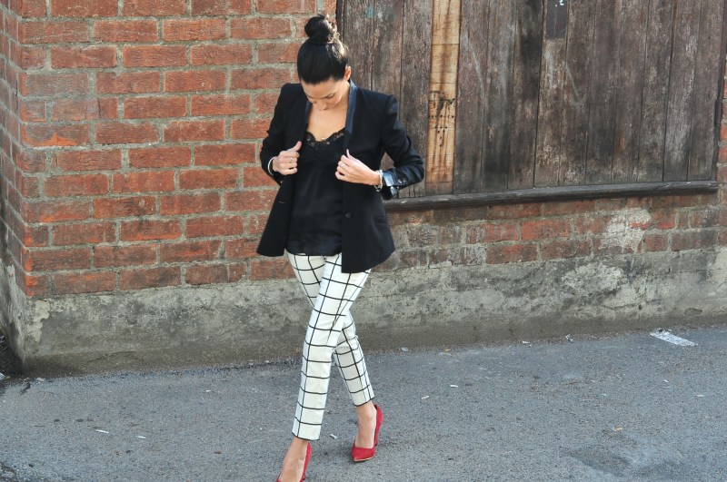 Dressing For Success - Helmut Lang Black Blazer, Mango Check Pants