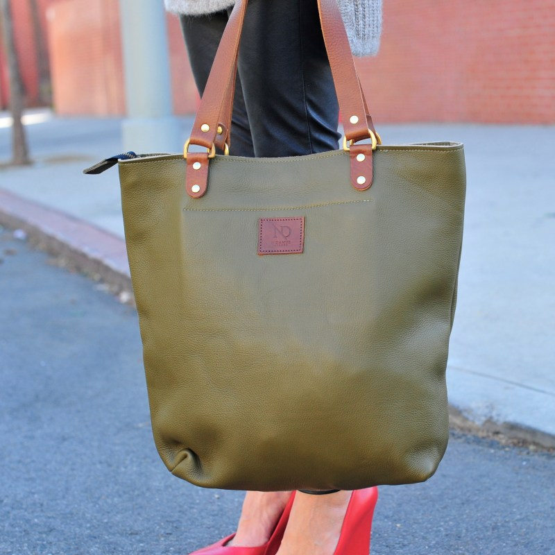 N'Damus Green Leather Tote Bag