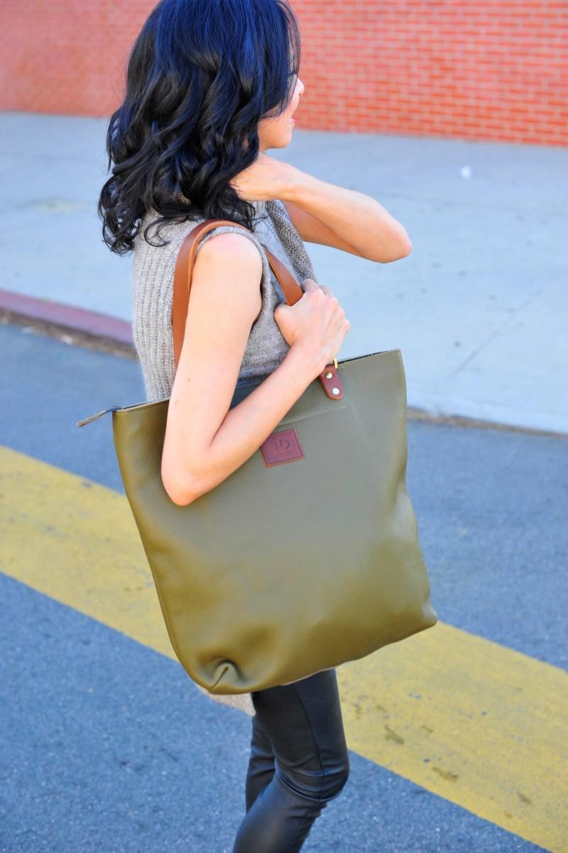 N'Damus Green Leather Tote Bag