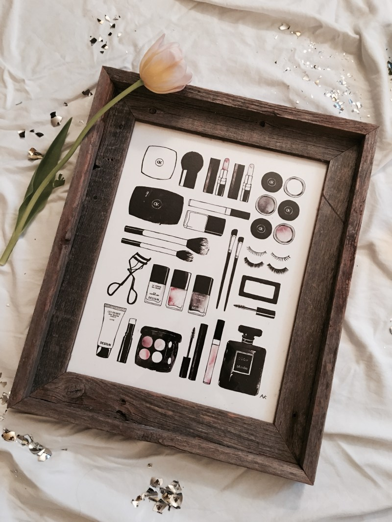 Beauty Items Art Print By Akr Design Studio