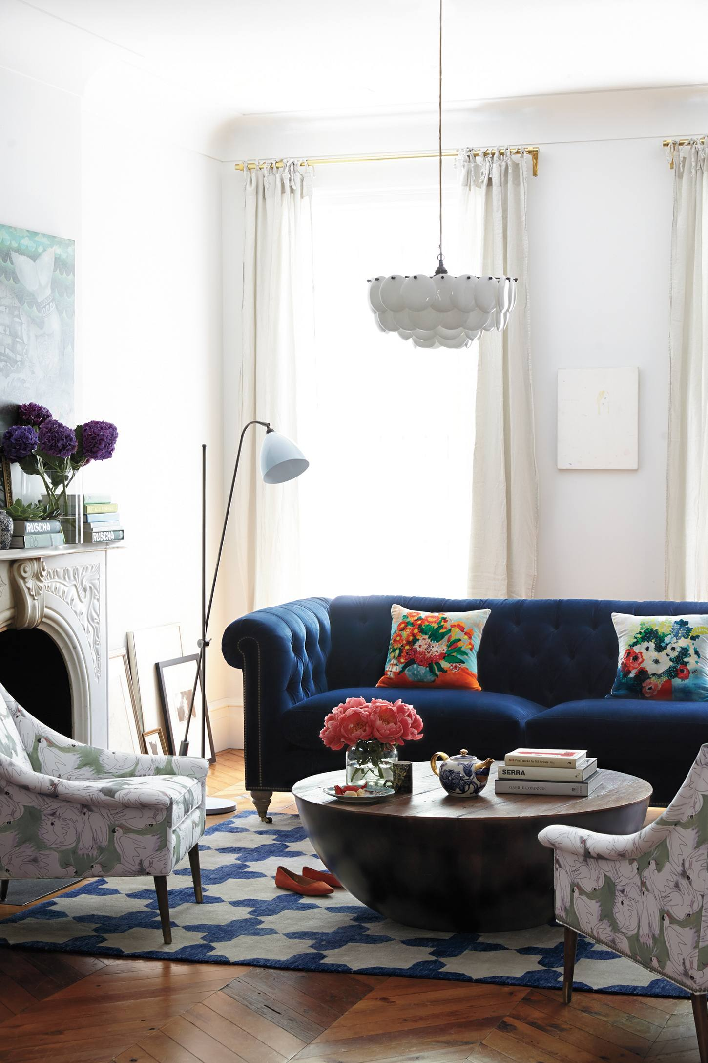 navy blue velvet sofa sectional sleeper toronto 25 stunning living rooms with sofas shop this lyle chesterfield from anthropologie