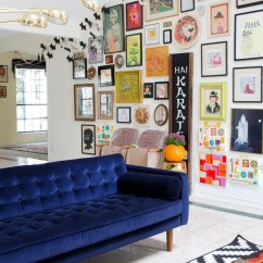 Blue Furniture Living Room Red White And Ideas 25 Stunning Rooms With Velvet Sofas Sofa A Bright Colorful Gallery Wall
