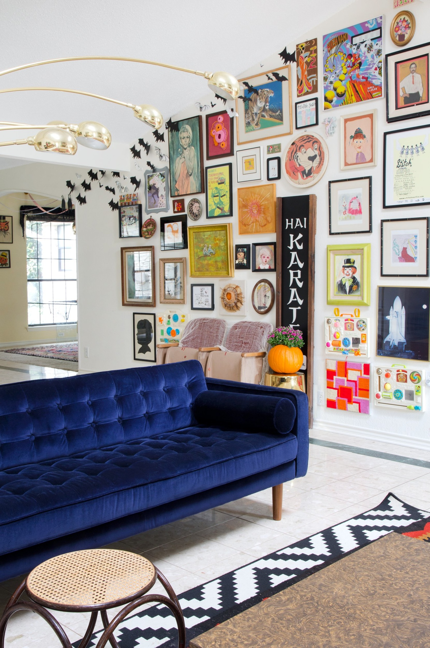 apartment sized furniture living room decorating ideas colour schemes 25 stunning rooms with blue velvet sofas sofa a bright and colorful gallery wall therapy