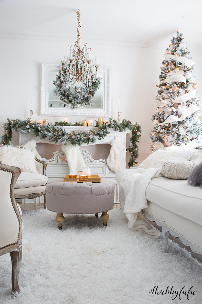 elegant and simple christmas living room in white