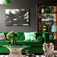 Green Sofa Living Room Ideas Pictures Furniture Arrangements 30 Lush Velvet Sofas In Cozy Rooms Against Black Wall