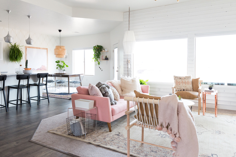 pink salon chairs chair massage prices a chic living room update with gorgeous sofa