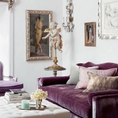 Purple Living Room Furniture Sofas Chairs And Tables 12 Royally Velvet For The Couch With Angel Sculpture Via Ad