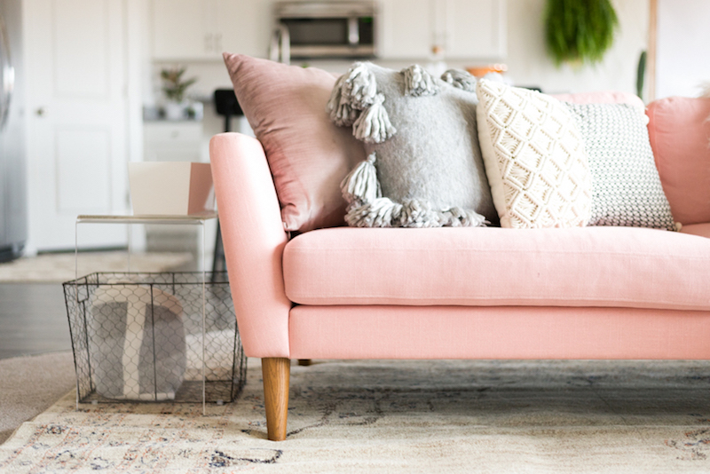 pink sofas living room sofa set india 16 chic blush how to style them soft in