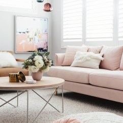 Pink Sofas Harveys Corner Sofa Sydney 16 Chic Blush How To Style Them With Abstract Art Via Jenni Farr